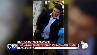 Hit-and-run suspect stopped for food after crash