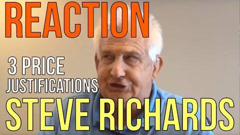 REACTION! STEVE RICHARDS: JUSTIFY PRICE! Translate: Don't Negotiate: The Homework Guy, Kevin Hunter