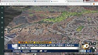 One person dead after fiery crash in El Cajon