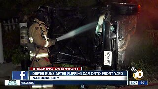 Driver runs after flipping car into front yard