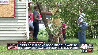 Army of volunteers help clean up debris for tornado victims