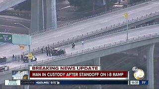 Man in custody after standoff on I-8 ramp