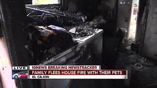 Family, pets escape house fire in El Cajon