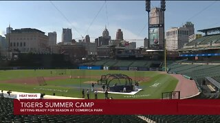 Detroit Tigers take to the field at Comerica Park to gear up for shortened baseball season