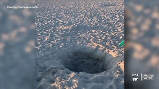 Giant holes on some Tampa Bay area beaches causing concerns over danger for people, sea turtles
