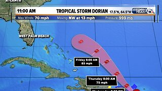 11 a.m. Wednesday update: Dorian could become Category 3 hurricane