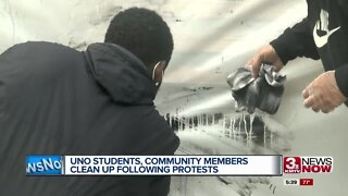 UNO students, community members clean up following protests