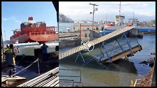 Ship loses control and hits Ferry in Brazil