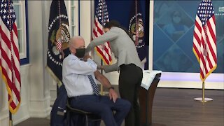 President Biden gets a COVID-19 booster shot as he encourages more people to get vaccinated