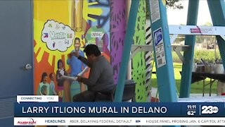 A mural in Delano honors Filipino American labor leader Larry Itliong