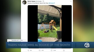 Eric Haase of Tigers celebrates Rookie of the Month honors... by cutting his grass