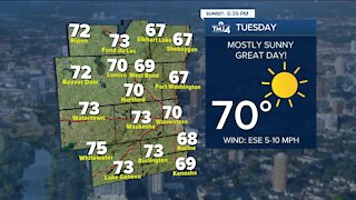 Tuesday is sunny with highs in the 70s