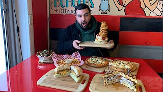 Trying A Cream Cheese Waffle Burger At Ottawa's Stuffed Burgers & Pizza (VIDEO)