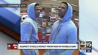 Suspect steals money from man in wheelchair
