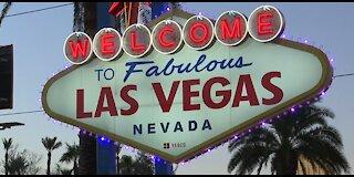 Vegas welcome sign turns purple raising domestic violence awareness
