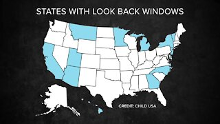 Map showing states with look back windows