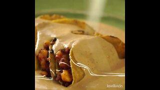 Potato and Spicy Sausage Bean Enchiladas