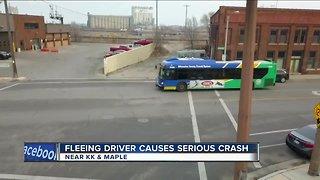 Fleeing driver causes serious crash