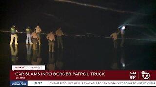 Car slams into Border Patrol truck
