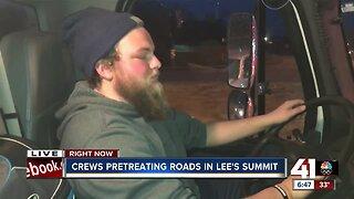 Crews pretreating roads in Lee's Summit