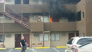 Fire erupts at downtown Las Vegas apartments; residents question fire extinguishers