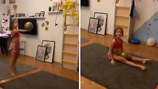 Amazing little girl has mad skills in rhythmic gymnastics