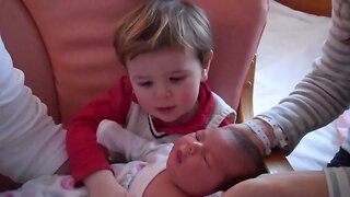 Toddler has Cutest Reaction when he Meets his New Baby Sister