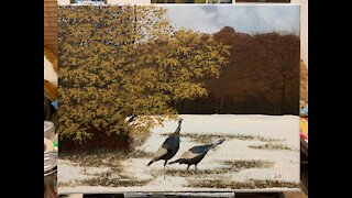 Painting a Thanksgiving Scene : Timelapse : Turkeys in the Snow