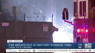 Battery storage yard catches fire in Phoenix