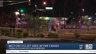 Motorcyclist dies after crash with Valley Metro crash