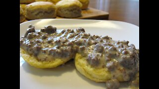 Venison Sausage Gravy and Biscuits