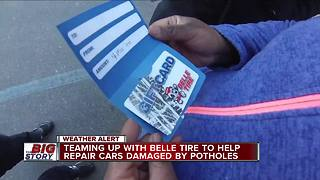 Belle Tire donates gift cards to help drivers with pothole problems