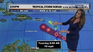 2 p.m. Monday Tropical Storm Dorian update