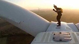 Epic BASE jump from wind turbine