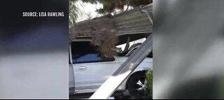Car crashes through wall at apartment complex