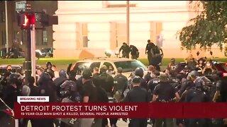 Downtown Detroit Protest Turn Violent