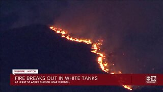 State Forestry: Brush fire burning on the White Tank Mountains