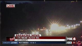 Dump truck catches fire on I-75 in Estero