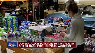 Couple collects donations to make healthy snack bags for hospital workers