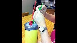 Crazy Straw Ring Stack to Develop Fine-Motor Skills