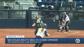 Michigan softball beats Michigan State in home opener