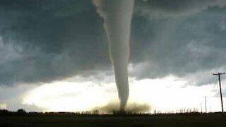 Devastating tornado filmed from inside a car