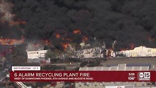 Six-alarm recycling yard fire ignites in Phoenix