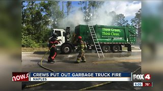 Garbage truck catches fire in Naples
