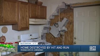 Driver plows into south Phoenix home, backs up and takes off