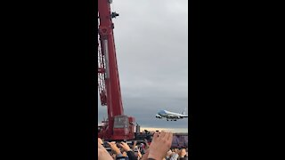 Air Force One lands in Michigan