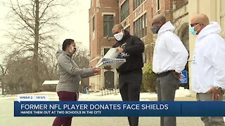 Former NFL player donates face shields