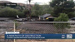 Homes damaged from debris flow along Gila County burn scars