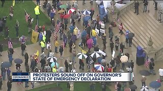 Large crowd gathers in Lansing to protest stay-at-home order