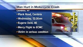 Man hurt in serious motorcycle crash